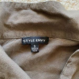 Style Envy Tops - Long sleeve tie crop top